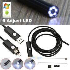 2M 5.5mm Endoscope 6 LED Waterproof Borescope Inspection HD Camera fr PC Android