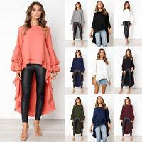 ❤️ Women Long Bell Sleeve Ruffles Irregular Hem Tops Casual Loose T Shirt Blouse