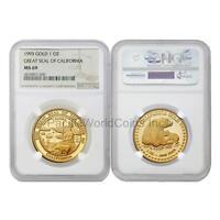 USA 1993 Great seal of California 1 oz Gold NGC MS69