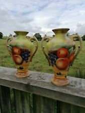 More details for pair of royal worcester style hand painted fruit china vases / urns signed