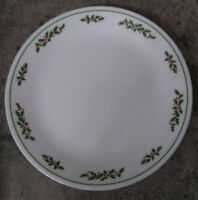"2-Vintage Corelle Corning Christmas Holly Days Dinner Plate Black Stem 10.25"""
