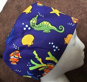 Blue tropical fish theatre hat hospital scrub cap odp surgeon doctor vet nurse