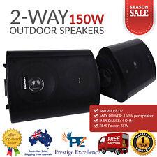 2-Way Indoor Outdoor Waterproof Speakers 150W Power Pair Home Marine Audio Black