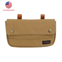Tourbon Vintage Bike Bag Canvas Bicycle Front Handlebar Pannier w/ Leather Strap