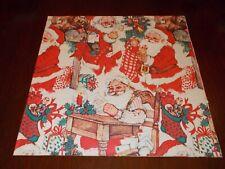 New ListingVtg Christmas Wrapping Paper Gift Wrap 1960 Plaid Stocking Santa List Cute Nos
