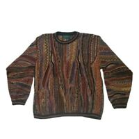 Vintage Tundra EARTH Colored Colorful Coogi Style Texture Sweater Biggie COSBY L