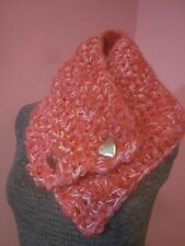 Scarf Cowl Boston Harbor Hot Pink Fruit Punch Cotton Candy 2 Gold Heart Buttons
