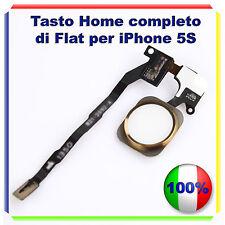 TASTO HOME BUTTON COMPLETO FLAT FLEX  IPHONE 5S BOTTONE ORO GOLD