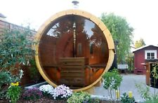Outdoor Barrel Sauna 2.4m (Ø 1,97 m) with glass wall / wood burning heater