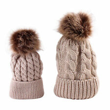 Matching Mum & Baby Beanies Winter Cosy Warm - Beige with light brown Poms Poms