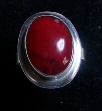 Gorgeous AMPARO ATI Sterling Silver Red Jasper Cabochon Ring Sz 9.75 Mexico 925