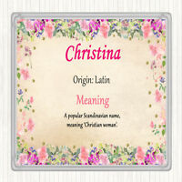 Christina Name Meaning Drinks Mat Coaster Floral