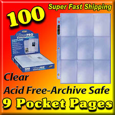 100 9 POCKET PAGE PROTECTORS ULTRA PRO SILVER SERIES FACTORY NEW 81442-100