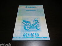 Owner ´S Manual Suzuki Gsx- R750 Stand 01/2000