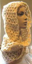 Cream Hooded Scarf~hand crocheted~Hood Accessories Scarves Winter Scoodie