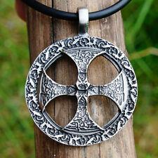 Nordic Viking Warrior Shield Sun Solar Iron-Cross Nose Pewter Pendant W PVC Cord