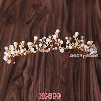 Luxury Rhinestone Pearl Wedding Bridal Headband Crystal Headdress Crown Tiara