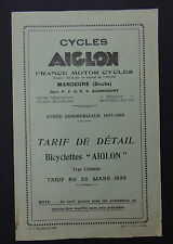 Tarif 1938 Cycle Byciclette ALCYON / France motors cycles Mandeure Doubs Fahrrad