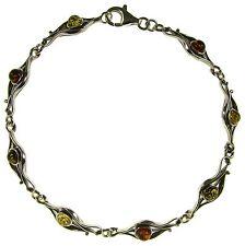 Bracciale donna in ambra naturale baltica e argento 925 - 18cm