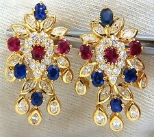 7.00ct natural sapphire ruby diamond dangle earrings 18kt cocktail+