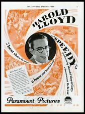 1928 Harold Lloyd photo Speedy movie release Paramount vintage print ad