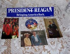 1980-1984 PRESIDENT REAGAN CAMPAIGN BUTTON PINBACK BUMPER STICKER POST CARDS LOT