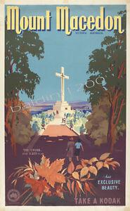 "AUSTRALIA HIGH QUALITY RETRO VINTAGE ""MOUNT MACEDON"" TRAVEL POSTER PRINT"