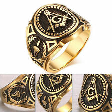 Men Fashion Accessories Punk Band Masonic Ring Freemasons Stainless Steel Rings