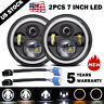 Pair 7 Inch Round LED Headlights Halo Angle Eyes For Jeep Wrangler JK LJ TJ CJ