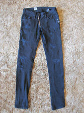 G-Star Lynn Zip Skinny Women Jeans Dark Aged Destroy size 27 Length 32