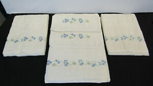 $1025 DEA Italy luxury embroidered bath towels set(5) – beige & blue 100% cotton
