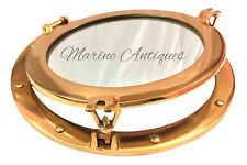 "15"" Antique Maritime Brass Porthole Nautical Ship Boat Window Glass Port Mirror"