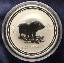 2007 AUSTRALIAN LUNAR YEAR OF THE PIG 5 oz .999 Silver Coin In Mint Capsule