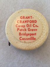 Patch Grove WISCONSIN 1930s GRANT CRAWFORD CO-OP OIL CO Tape Measure CENEX
