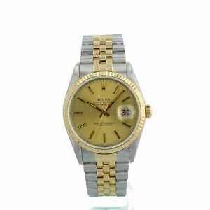 Rolex Datejust 36 16233 Gilt Dial 18ct Gold Steel Jubilee Rolex Box 1991