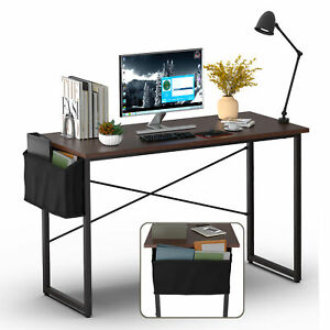 """Modern Computer Desk 47"""" Study Writing Table Home Office with Storage Bag Coffee"""