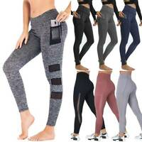 Women High Waist Yoga Pants With Pockets Workout Leggings Jogging Trousers A08