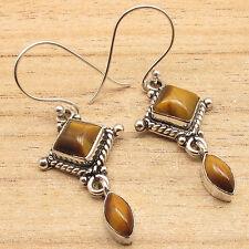 Natural TIGER'S EYE Gems Tribal Chandelier Earrings 4.5 cm ! 925 Silver Plated