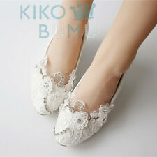 Vintage Lace Wedding Wedge Pump Party Bridal Bridesmaid Flat High Low Heel shoes