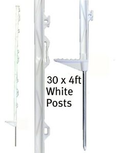 30 x 4FT WHITE ELECTRIC FENCING POSTS Fence Poly Plastic Horse Paddock Pole