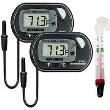 Lcd Digital Aquarium Thermometer Fish Tank Water Terrarium Temperature, 2 X 1