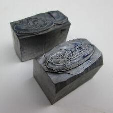 2 Plated Food Letterpress Printing Blocks for Restaurant Advertising Metal Base