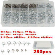 250x Φ5-Φ14 Spring Clip Vacuum Fuel Oil Hose Line Air Tube Band Clamp Assortment