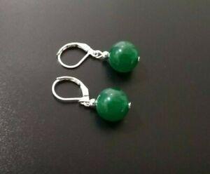 Green Jade Earrings Leverback NEW