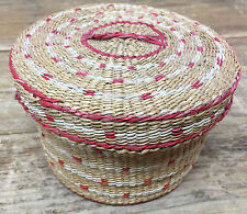 Antique Woven Basket Round Natural Rust Design Native Help ? Ethnic Box w Lid