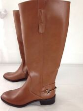 7 Sam & Libby Cognac Tan Tall Knee High Riding Boots Women's vegan leather brown