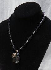Hematite Beaded Elephant Pendant Rhinestone Short Choker Necklace 17 inches