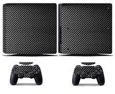 Black Carbon Fiber Vinyl Skin Sticker Cover for Sony PS4 Slim PlayStation 4 SLIM
