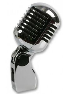 Retro Microphone Vintage Style 50s Mic Elvis Old Fashioned with Carry Case