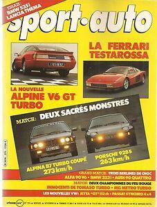 SPORT AUTO 274 1984 GP EUROPE GP PORTUGAL RALLYE SAN REMO ALPINA B7 TURBO 928 S